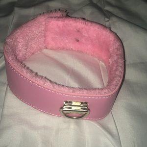 Pink fuzzy choker